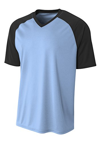 (A4 Mens Strike Raglan Tee, XL, Lt. Blue/Blk)