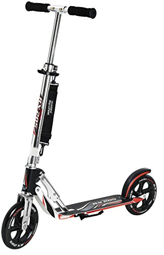 HUDORA 14724 Adult Folding Kick Scooter- 2 Big PU Wheels 205 mm, Adjustable Bar,Reinforced ()