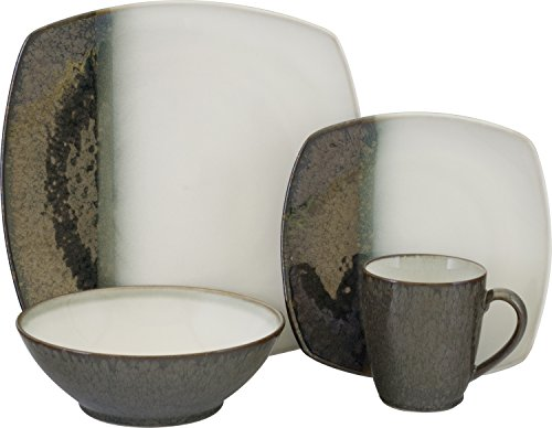 Sango 3607BK800ACM30 Metallic 16-Piece Stoneware Dinnerware Set, Black