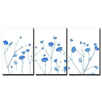3 Panel Canvas Wall Art - Small Blue Flowers on White Background - Giclee Print Gallery Wrap Modern Home Art Ready to Hang - 16