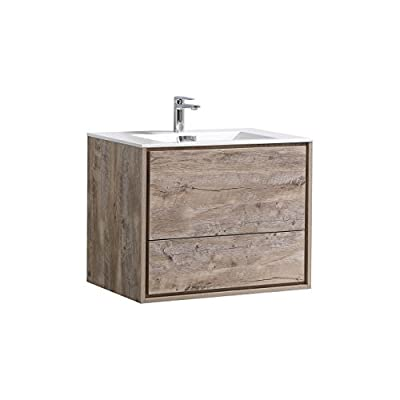 "De Lusso 30"" Nature Wood Wall Mount Modern Bathroom Vanity -  - bathroom-vanities, bathroom-fixtures-hardware, bathroom - 41ElO zqOfL. SS400  -"