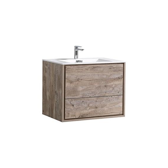 "De Lusso 30"" Nature Wood Wall Mount Modern Bathroom Vanity -  - bathroom-vanities, bathroom-fixtures-hardware, bathroom - 41ElO zqOfL. SS570  -"