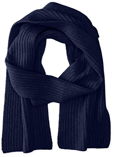 Cashmere Scarf Ribbed (Williams Cashmere Men's Ribbed Scarf, Midnight Navy, One Size)