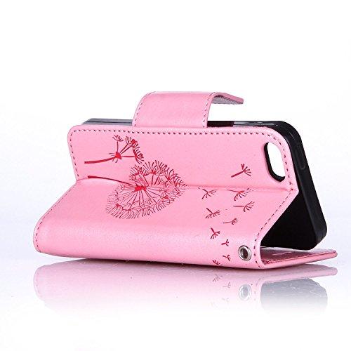 Für Apple iPhone 5 5G 5S / iPhone SE (4 Zoll) Tasche ZeWoo® Ledertasche Strass Hülle PU Leder Schutzhülle Glitzer Case Cover - L068 / Löwenzahn (rosa)