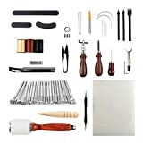 OWDEN 54 Pieces Leather Tools Set for Beginner, Leather Stamping,Sewing,Craving,Edge,Groover,therad,Needle Tools Set. (Tamaño: 54 Pieces)
