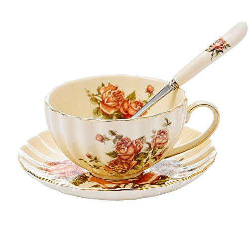 "Panbado 3 Piece Gold Rimmed Creative European Luxury Hand Painted Ivory China Flower Tea Coffee Set Porcelain Tea Service with 10 Ounce 5"" Cup 4.5"" Saucer and 6"" Spoon - Rose"