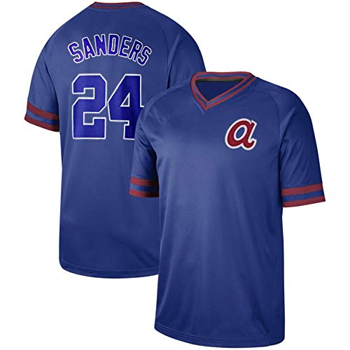 PGONENET Deion_Sanders_Cooperstown_Collection_Legend_V-Neck_Jersey Blue Cooperstown Collection Baseball Jersey