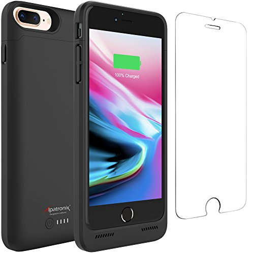 iPhone 8 Plus / 7 Plus Battery Case Qi Wireless Charging Compatible, Alpatronix BX190plus 5.5-inch 5000mAh Rechargeable Protective Portable Charger for iPhone 8+/7+ [Apple Certified Chip] - Black by Alpatronix
