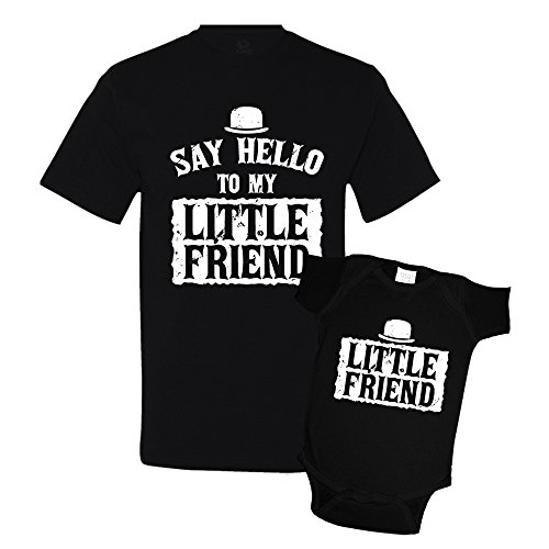 Say Hello to My Little Friend Shirts Matching Father Son Shirts Bodysuit Clothing Black