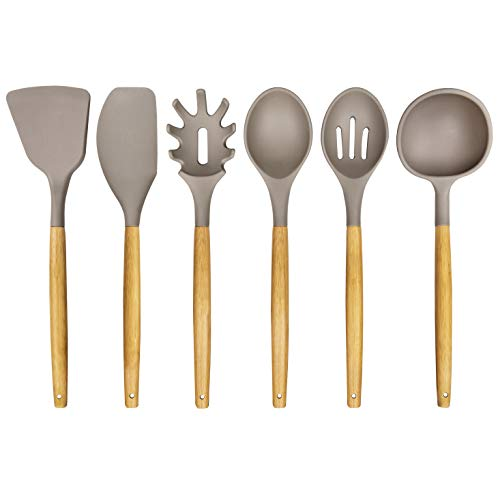 Silicone Kitchen Utensil Set: 6 Piece Silicone Cooking Utensils with Natural Bamboo Wooden Handles