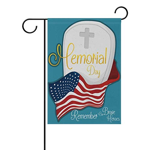 Dongingp Garden Flag Yard 12x18 in Happy Memorial Day in Dependence Day Gravestone with USA Cross Golden Epitaph Tw in SidesAnniversary Decor