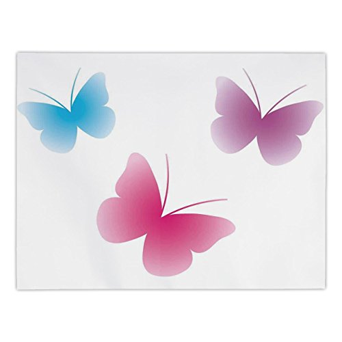 Polyester Rectangular Tablecloth,Animal,Butterfly Silhouettes Spiritual Wings Life Themed Image,Pink Dried Rose Blue,Dining Room Kitchen Picnic Table Cloth Cover,for Outdoor Indoor