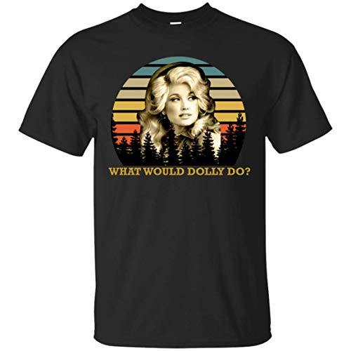 Unisex T-shirt Music T-shirt - Dolly Parton What Would Dolly Do Country Music Legend Vintage Unisex T-Shirt Black