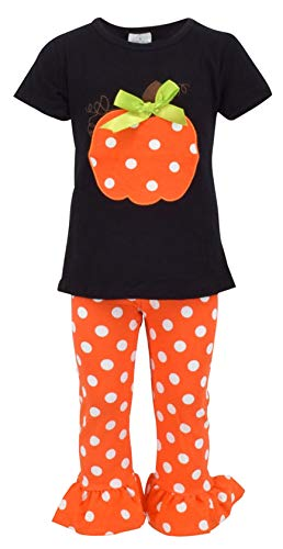 Unique Baby Girls Fall Fashion Halloween Polka Dot Pumpkin Outfit (3t) Orange]()