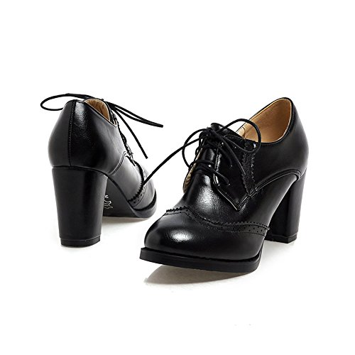 High Heel Chunky Shoes Fashion Black Oxfords Lucksender Womens Up Lace YxwIqRAX