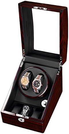 QHY 木製ワインディングマシーン2 + 3 ウォッチワインダー PUレザー自動5回転モード高級ピアノペイントケースLEDライト収納ケースジュエリー静音モーター付き (Color : A)