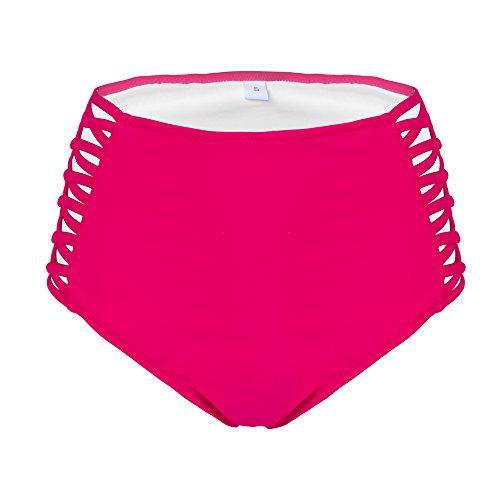 Dreaweet Women's Mid Waist Triangle Sexy Hollow Out Bikini Bottom Swim (Out Womens Swimsuit Bottom)
