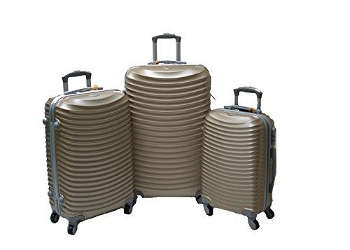 JustGlam - Set 3 Trolley set2030, valige rigide in ABS policarbonato, bagaglio piccolo da cabina, chiusura con lucchetto / champagne