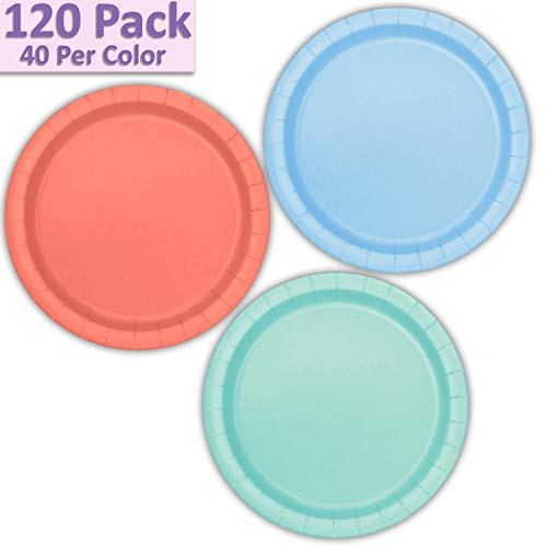 "120 Paper Dessert Plates (7"") - Light Blue, Coral, Mint - 40 Per Color, 3 Colors - Great Assortment for Birthday Parties, Weddings, Holidays, Baby Shower, Celebrations, and more"