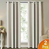 Bedroom Blackout Curtains Beige/Ivory Themal Insulated Grommet/Eyelet Top Curtains for Living Room/Bedroom Energy Efficient Window Panels Curtains Drapes (2 Panels, Beige, 52x96 Inch)