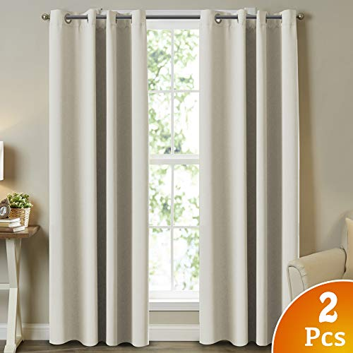 Turquoize Room Darkening Curtains for Bedroom Ivory Blackout Thermal Insulated Window Curtains for Bedroom, Solid Grommet, Window Curtains for Hall Room (2 Panels, W52 x L84 -Inch, Beige/Ivory) (And Draperies Curtains)