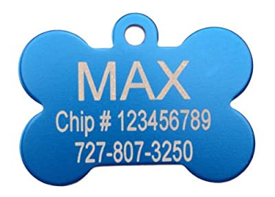 Blue Bone Shape Pet ID Tag - Small or Large