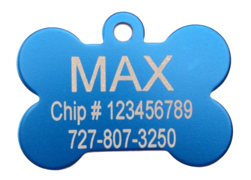 Id Tag Large Bone (Blue Bone Shape Pet ID Tag - Small or Large)
