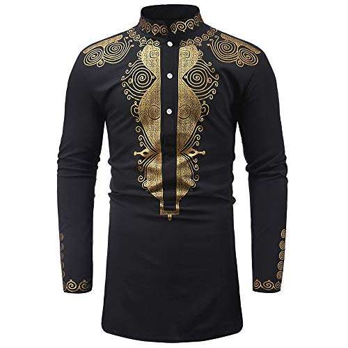 2019 New Hot Personality Mens Luxury African Print Long Sleeve Dashiki Shirt Top Blouse by G-Real Black ()