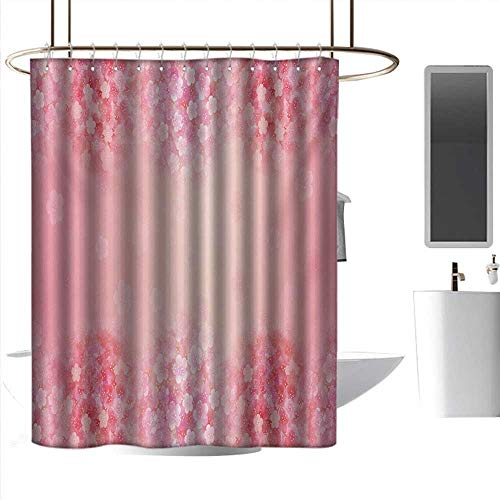 coolteey Shower Curtains Hooks Black Pale Pink,Plum Blossom Botany Beauty Natural Art Spring Flowers Seasonal Background Print,Coral Ruby,W55 x L84,Shower Curtain for Bathroom ()