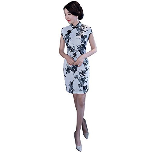 POPOOL PPYG17 Women's Retro Short Sleeve Dress retro linen Stand collar cheongsam (US 8, Gray) ()