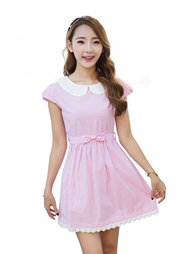 [TULIPTREND Women's Fresh Doll Collar Short Sleeve Dress Pink US X-Small/Asian Small] (Grady Twins Costume)