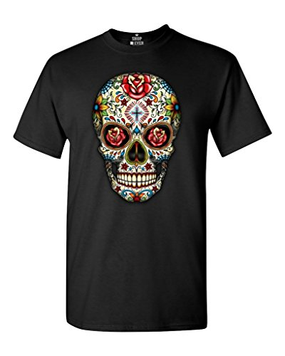 Sugar Skull Roses T-shirt Day of Dead Shirts #16553 Large Black ()