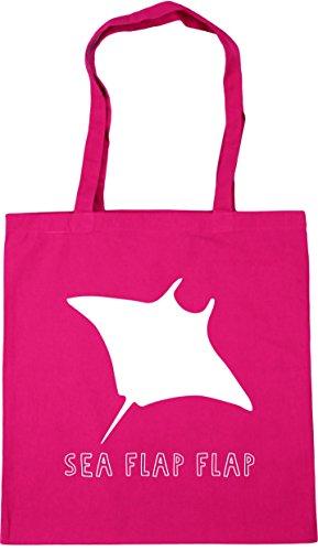 stingray flap 42cm HippoWarehouse flap x38cm Gym Sea Shopping Bag litres 10 Tote Beach Fuchsia CtCqwH1n6