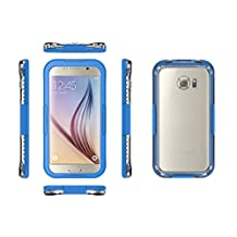 Galaxy S6 WaterProof Case Cover Febe Waterproof Shockproof Dust Sand Proof Cover Case For Samsung Galaxy S6 / S6 Edge Snowproof Cover Case [Full Sealed] Protective Water Resistant Case for Samsung Galaxy S6 Edge - Light Blue