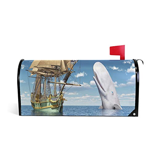 Wamika 18Th Century Corvette and White Whale Computer Gen Letter Magnetic Mailbox Cover Post Standard Oversized Home Garden Residence Yard Outdoor Decor ()