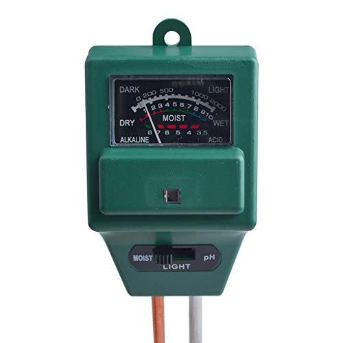 LEERYAAY Soil pH Meter 3-in-1 Soil Moisture/Light/pH Tester Gardening Tool Kits Green