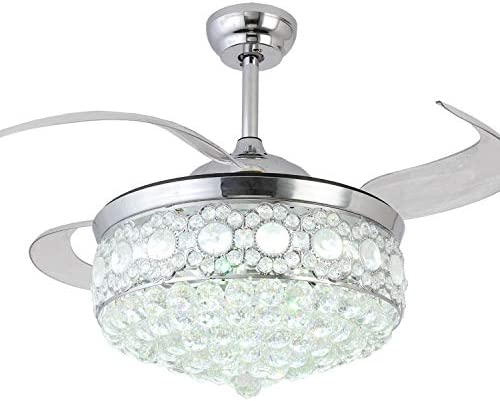 Crystal Ceiling Fan with Light 42 Inch, Invisible Retractable Ceiling Fan Chandelier with Remote,Chrome Finished Silver
