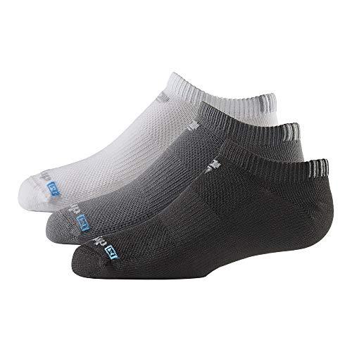 Drymax Kids No Show Socks Thin Cushioned | Youth Boys & Girls (3 Pairs) | Super Breathable Performance to Keep Feet Dry, XS, White/Black/Grey, Thin Cushion