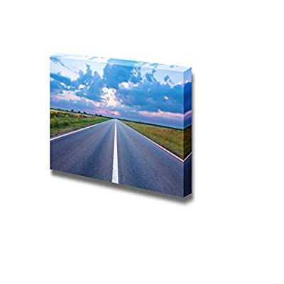 Dazzling Design, Beautiful Landscape Scenery Asphalt Road Highway Towards The Rising Sun Wall Decor, That You Will Love