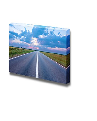 Beautiful Landscape Scenery Asphalt Road Highway Towards the Rising Sun Wall Decor ation