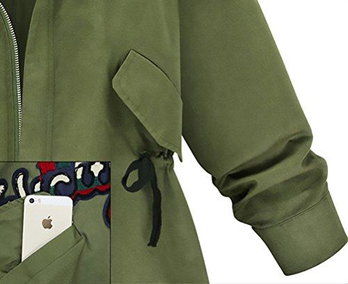 Partito Forti Ragazze Saoye Donna Giovane Elegante Giacche Verde Militare Zip Manica Invernali Sciolto Cappotti E Parka Fashion Giacca Oversize Autunno Taglie Lunga Cappotto Casuale Giubbotto FSqP6S