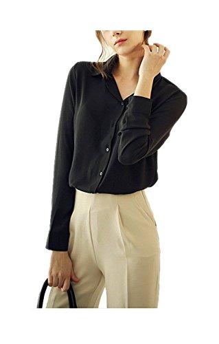 b326e1f9 ARJOSA Women's Long Sleeve Button Down Shirt Casual Blouse Top Blue ...