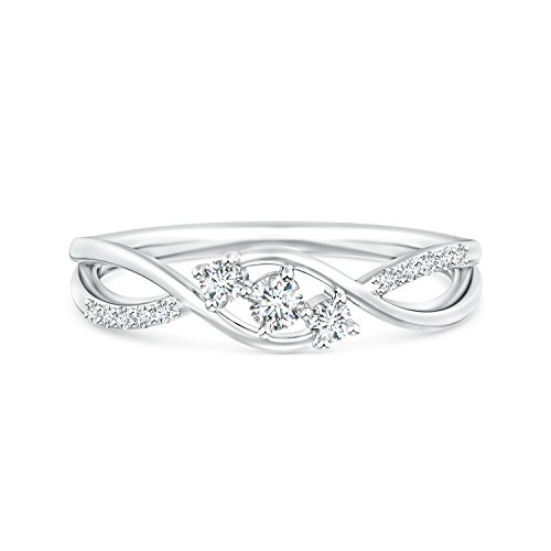Infinity Twist Lab Grown Diamond Three Stone Bypass Ring in 14k White ()