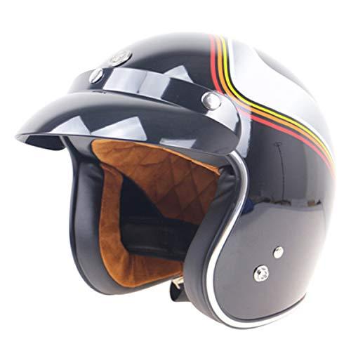 Shfmx Personalized Retro Motorcycle Helmet, Jet Open Helmet Four Seasons Unisex Motocross ATV Pilot Cruise Scooter Half Helmet · Sun Visor(Aurora),XL