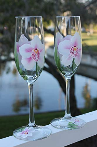 Hand Painted Champagne Glasses - Anne Marie Orchids (Set of 2)