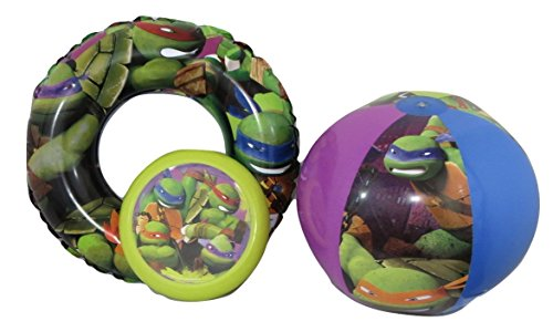 Teenage Mutant Ninja Turtles TMNT Swim Ring, Beach Ball, and Flying Disc Bundle Su-24
