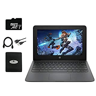 "2020 Newest HP Chromebook 11.6"" HD Laptop for Business and Student, Intel Celeron N3350, 4GB RAM, 32GB eMMC Flash Memory, Webcam, USB-A&C, WiFi , Bluetooth, Chrome OS, w/64GB SD Card, GM Accessories"