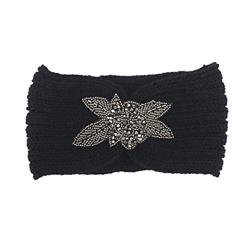 iNoDoZ Women's Knitting Soft Cotton Headband Handmade Keep Warm Hairband Headwear Black ()