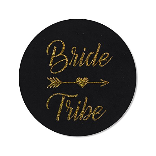 "24-pack, 2"" bride tribe stickers, bachelorette stickers, black gold glitter bridal shower labels (Peel Bachelorette)"