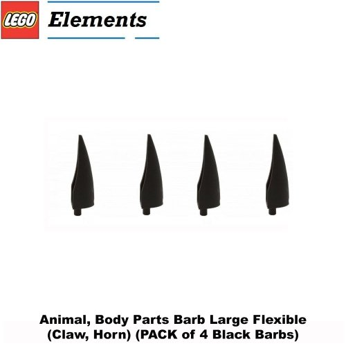 Lego Parts: Animal, Body Parts Barb Large Flexible (PACK of 4 - Black Claw Horns) Battle 4 Piece Body